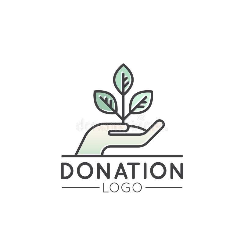 Logo för ideella organisationer och donationmitt Fundraising symboler, Crowdfunding och välgörenhet royaltyfri illustrationer