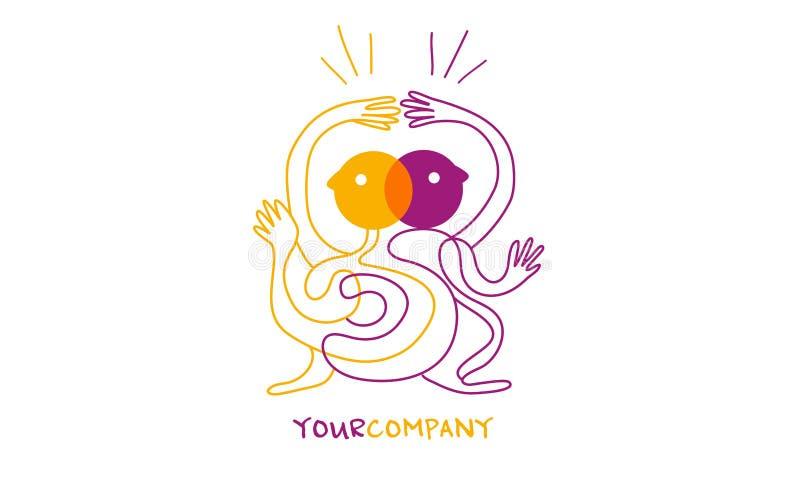 Logo för illustration för dansteckenyoga eller Ying yang royaltyfri illustrationer