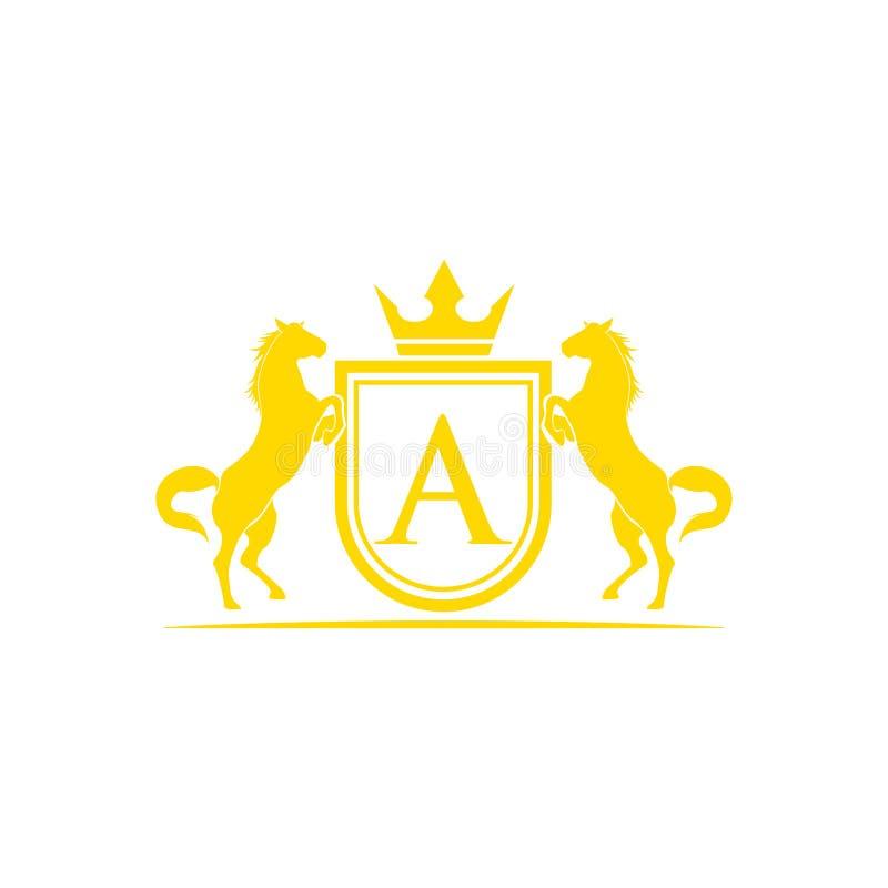 logo för initial bokstav A Vektor för design för hästmärkeslogo Retro guld- vapen med skölden och hästar Heraldisk logomall royaltyfri illustrationer
