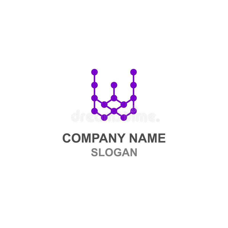 Logo för initial för bokstav för W-anslutningsprick royaltyfri illustrationer