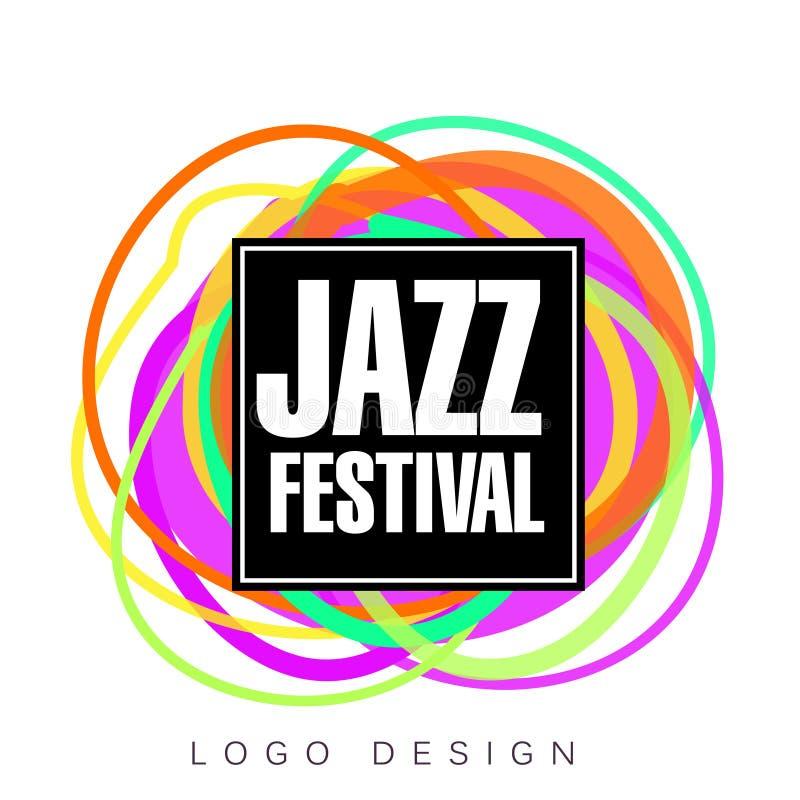 Logo för jazzfestival, idérikt baner, affisch, reklambladdesignbeståndsdel för musikalisk illustration för partiberömvektor vektor illustrationer