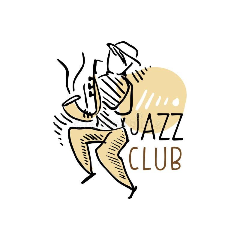 Logo för jazzklubba, tappningmusiketikett med saxofonisten, beståndsdel för reklamblad, kort, broschyr eller baner, hand dragen v royaltyfri illustrationer