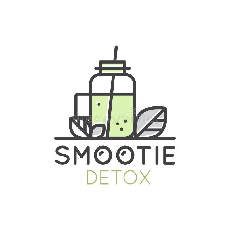 Logo för kafé för stång för Detox för drink för strikt vegetarian- eller vegetarianSmoothiefrukt med den nya naturprodukten för b stock illustrationer