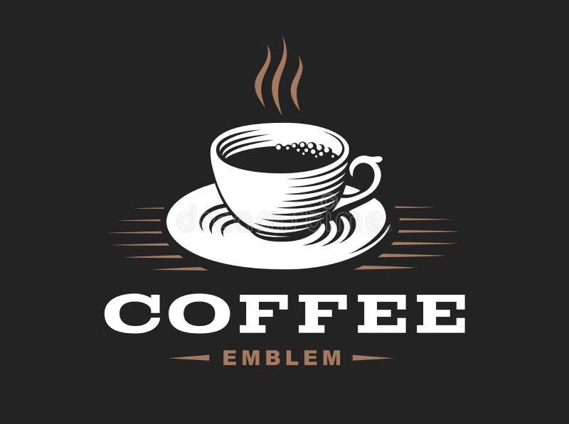 Logo för kaffekopp - vektorillustration, emblem på svart bakgrund vektor illustrationer