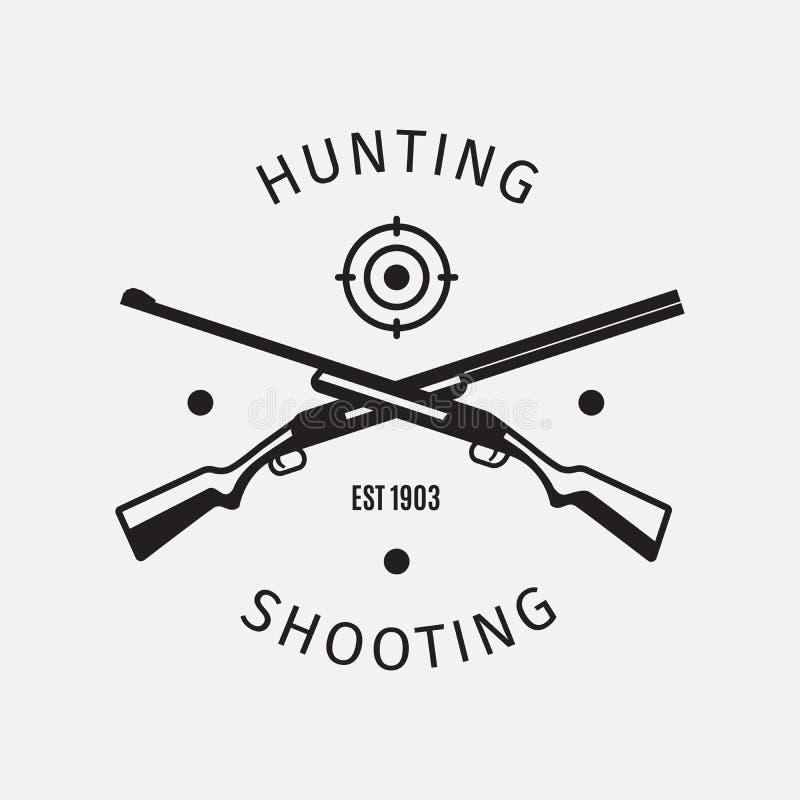 Logo för klubba för skytte för tappningstiljakt vektor illustrationer