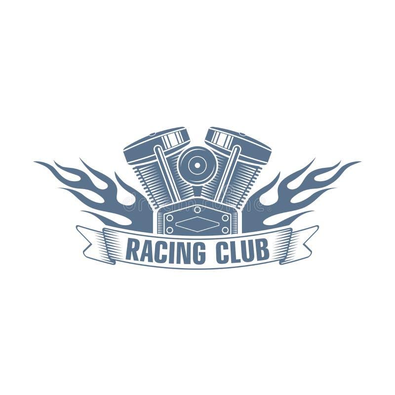 Logo för klubba för monokromma vektorcyklister tävlings-; motorcykelklubbabadg stock illustrationer