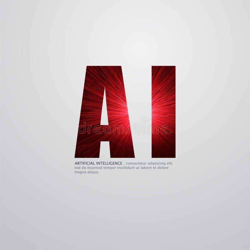 Logo för konstgjord intelligens Begrepp för konstgjord intelligens och för lära för maskin Vektorsymbol AI vektor illustrationer
