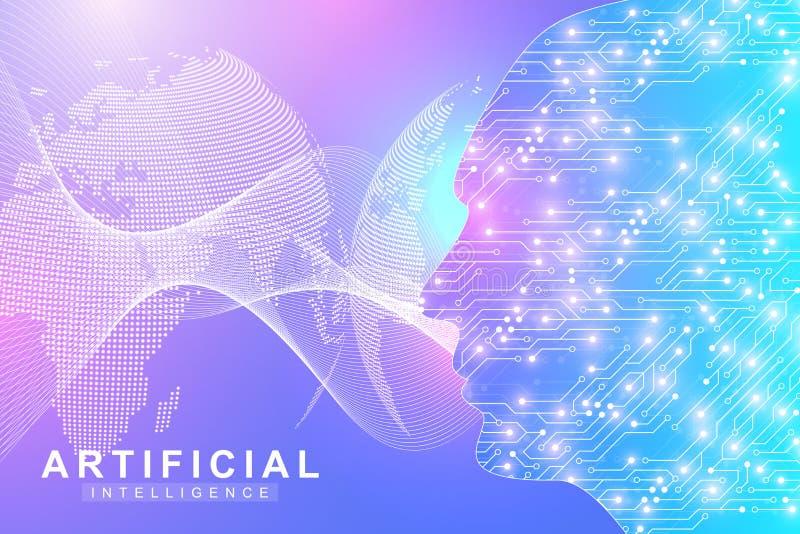 Logo för konstgjord intelligens Begrepp för konstgjord intelligens och för lära för maskin Vektorsymbol AI Nerv- nätverk stock illustrationer