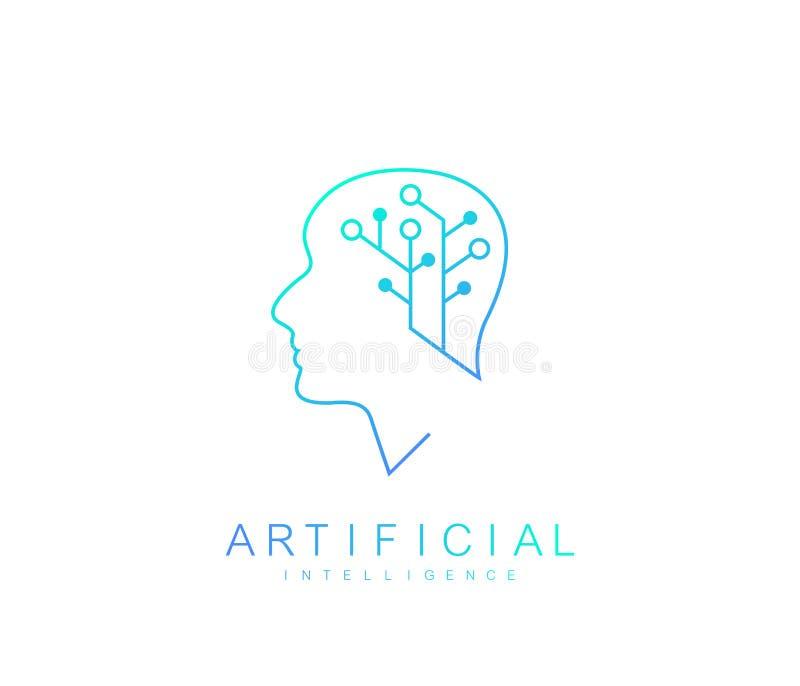 Logo för konstgjord intelligens för vektormall Symbol för konstgjord intelligens, logotyp, symbol konstgjord intelligens stock illustrationer