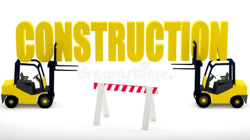Logo för konstruktionsplats med gaffeltruckar och en konstruktionsbarriär som symboliserar säkerhet på konstruktionszonen vektor illustrationer