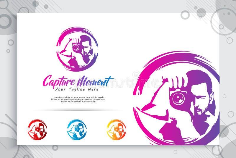 Logo för konturfotografivektor, illustration av den abstrakta fotografinnehavlinsen som en symbolsymbol av fotografiservice royaltyfri illustrationer