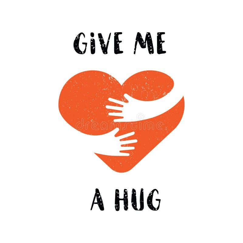 Logo för kram själv Ge mig en kram Älska sig logoen med text som isoleras på vit bakgrund för kort, bröllop, t-skjorta stock illustrationer