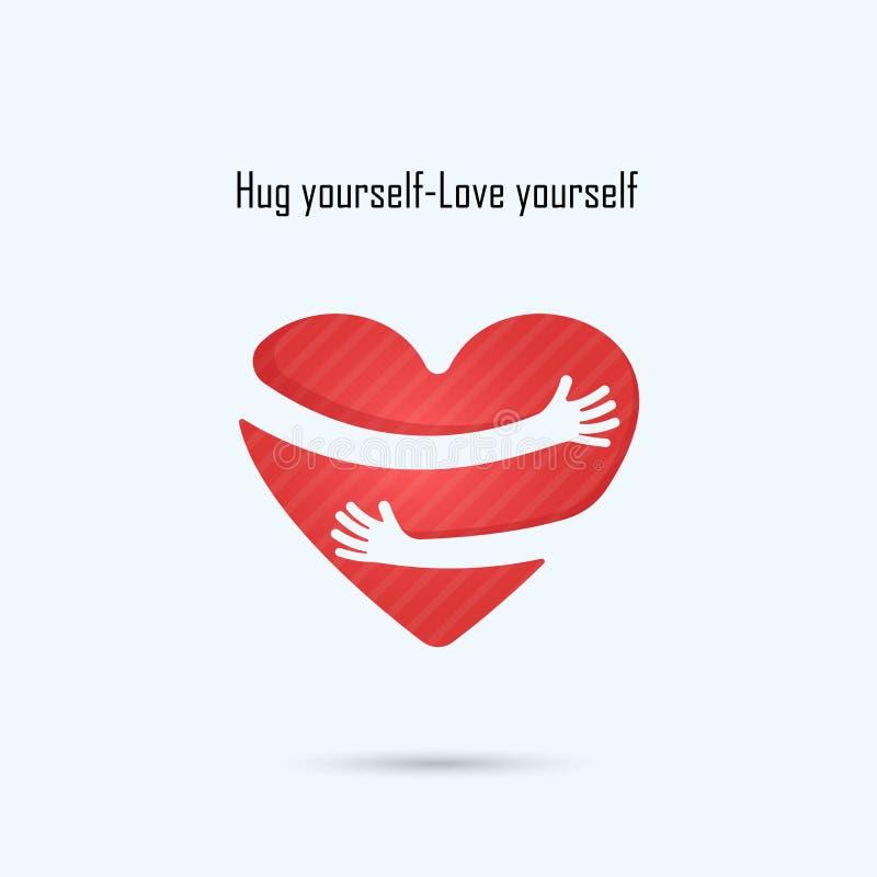 Logo för kram själv Logo för förälskelse själv Förälskelse- och hjärtaomsorglogo stock illustrationer