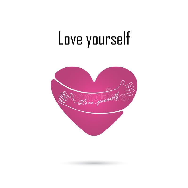 Logo för kram själv Logo för förälskelse själv Förälskelse- och hjärtaomsorgsymbol em royaltyfri illustrationer