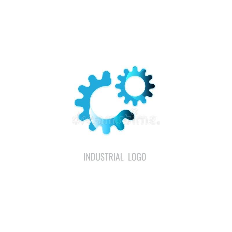 Logo för kuggeblåttfärg industriellt vektor På vitbakgrund I royaltyfri illustrationer