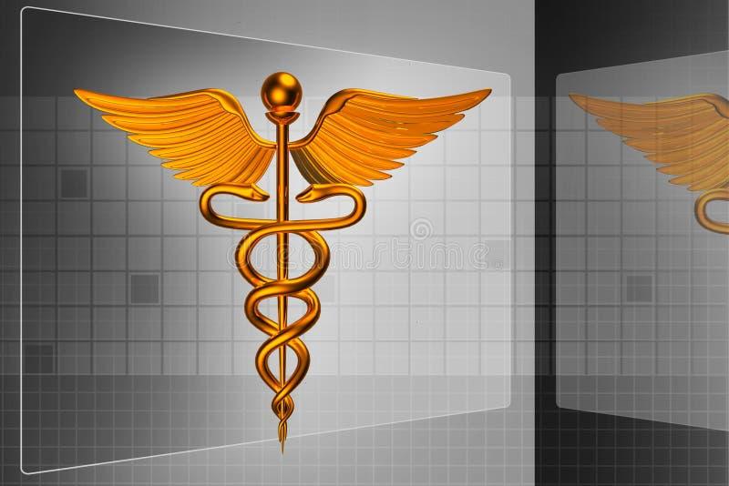 logo för läkarundersökning 3d royaltyfri illustrationer