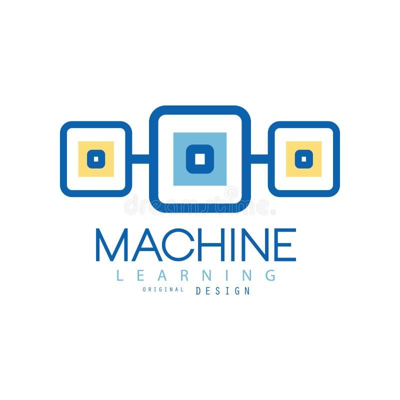 Logo för lära för maskin Geometriskt symbol av moderna teknologier Databranschenbegrepp Plan vektordesign för royaltyfri illustrationer