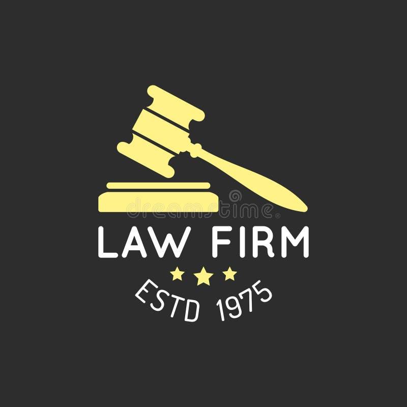 Logo för lagkontor med auktionsklubbaillustrationen Vektortappningadvokat, förkämpeetikett, emblem Handling princip, laglig symbo stock illustrationer