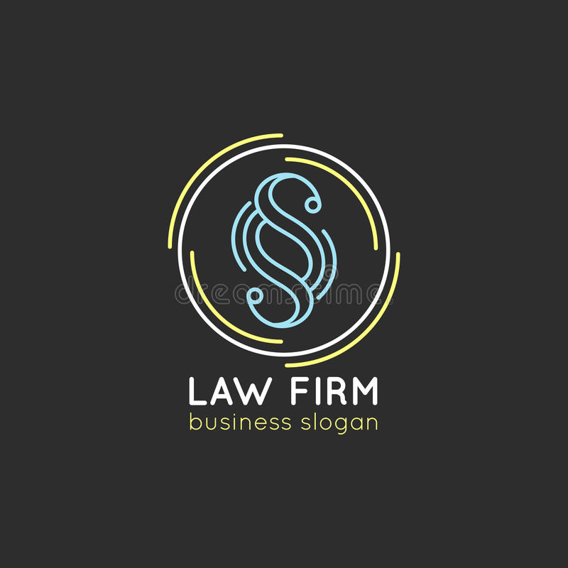 Logo för lagkontor Vektortappningadvokat, förkämpeetikett, juridiskt fast emblem Handling princip, laglig symbolsdesign stock illustrationer
