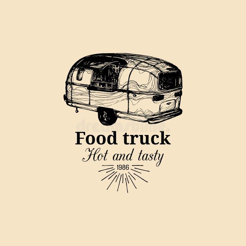 Logo för lastbil för vektortappningmat med bokstäver Retro hand dragen illustration för bil för hipstergatamellanmål royaltyfri illustrationer