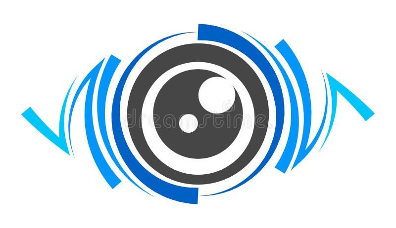 Logo för lins för blått öga stock illustrationer