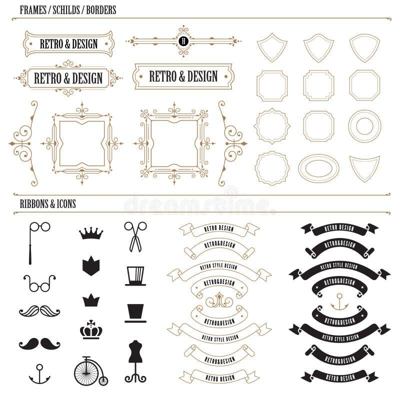 Logo för lyx för ram för beståndsdel för tappningetikettemblem blom- royaltyfri illustrationer