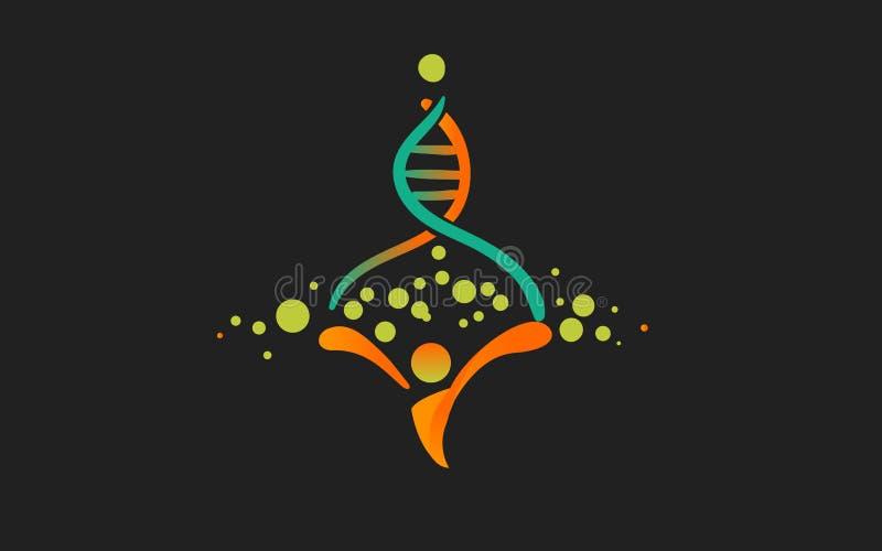 Logo The för mänsklig genom för vektor ursprung av liv och det nya genstamträdet Dna-logo med människan arkivbilder