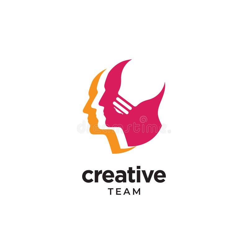 Logo för mänskligt huvud med negativt utrymme vektor illustrationer