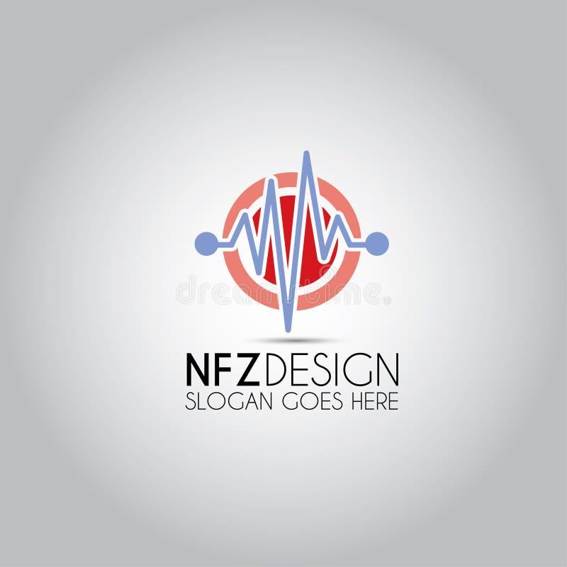 Logo för mall för hjärtatakt stock illustrationer