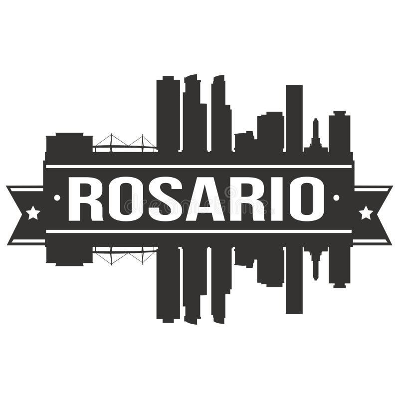 Logo för mall för Rosario Argentina Round Icon Vector Art Flat Shadow Design Skyline stadskontur stock illustrationer