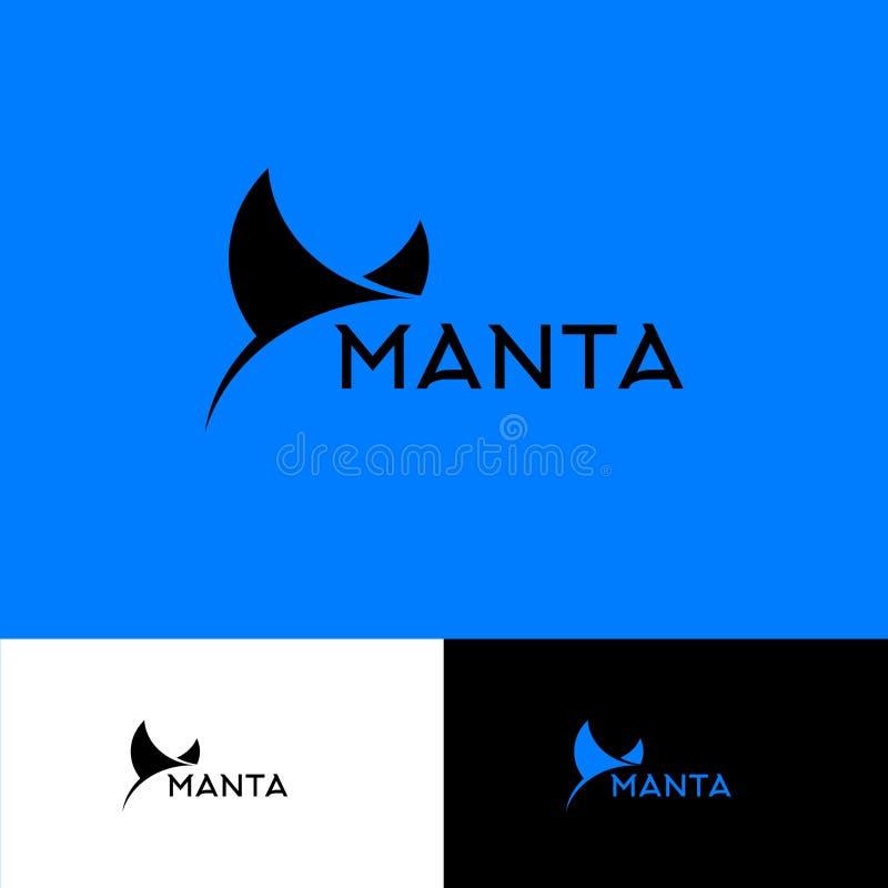 Logo för Mantastråle Dyka klubbaemblemet Hav- eller havslogo Simma klubbalogo stock illustrationer
