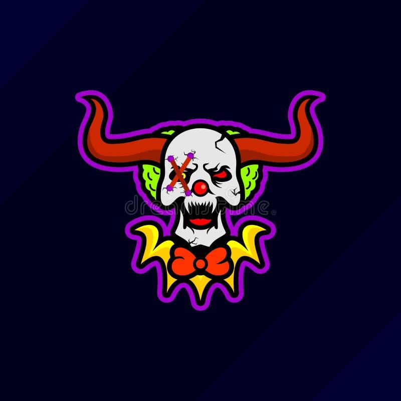 Logo för maskot för dobbel för skalleclownesport vektor illustrationer