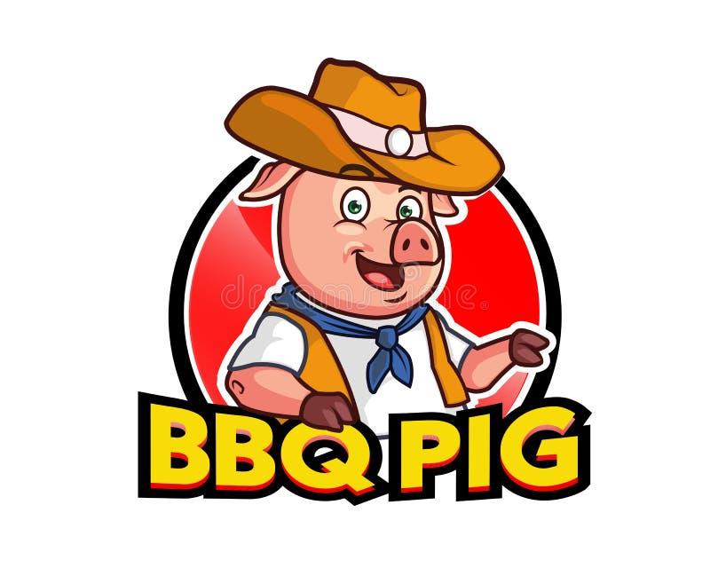 Logo för maskot för BBQ-svintecknad film royaltyfri illustrationer