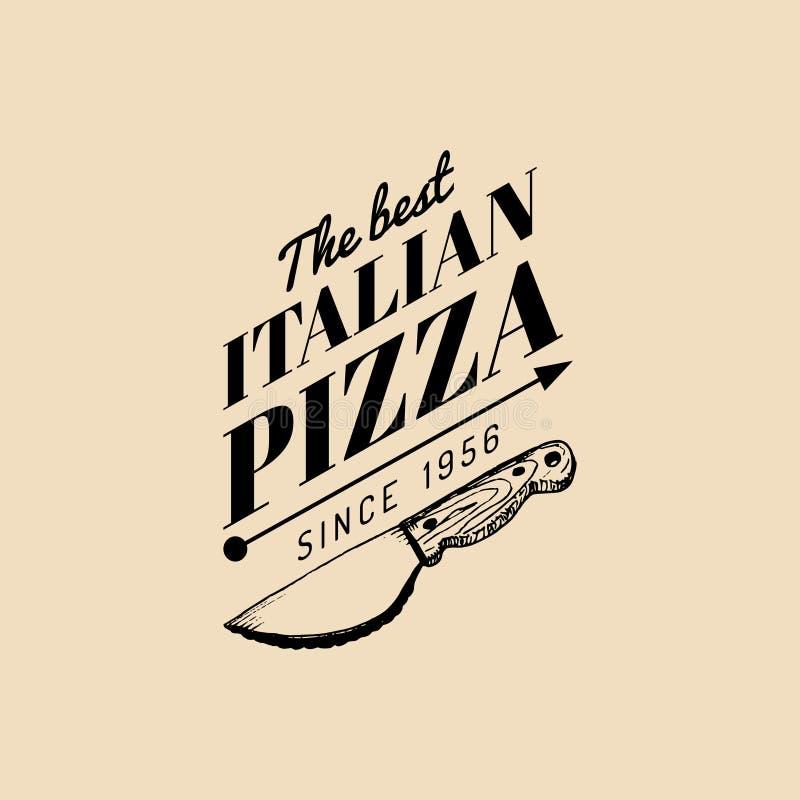 Logo för mat för vektortappninghipster italiensk Modernt pizzatecken Hand dragen medelhavs- kokkonstillustration stock illustrationer