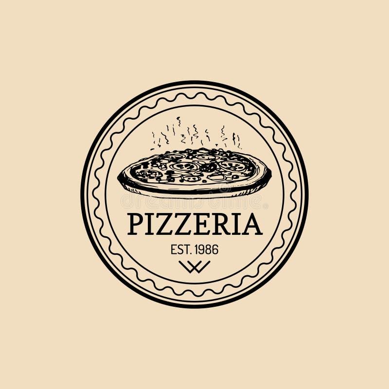 Logo för mat för vektortappninghipster italiensk Modernt pizzatecken Hand dragen medelhavs- kokkonstillustration royaltyfri illustrationer