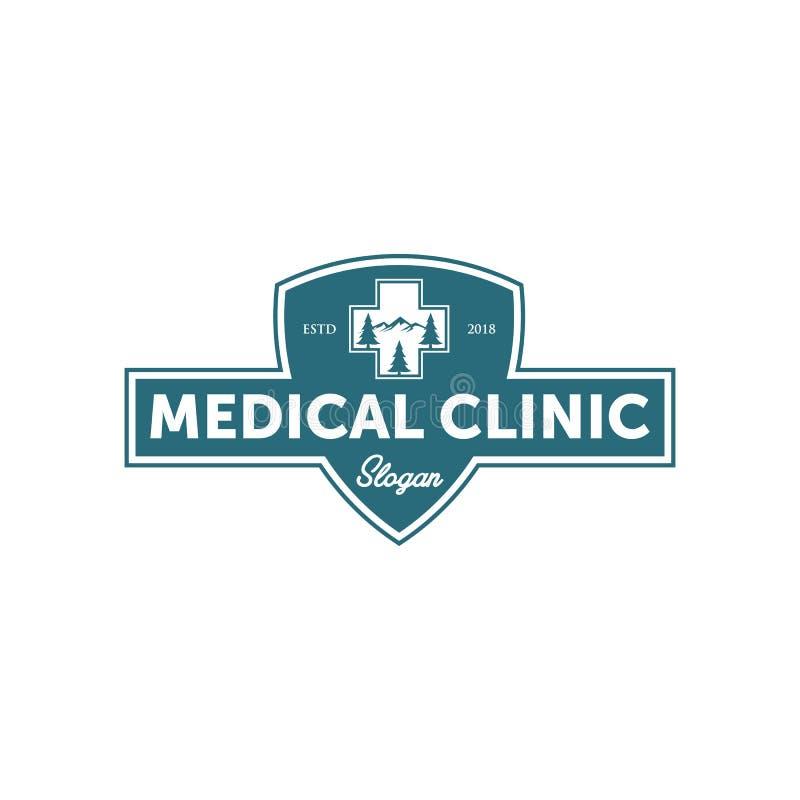 Logo för medicinsk klinik för tappning stock illustrationer