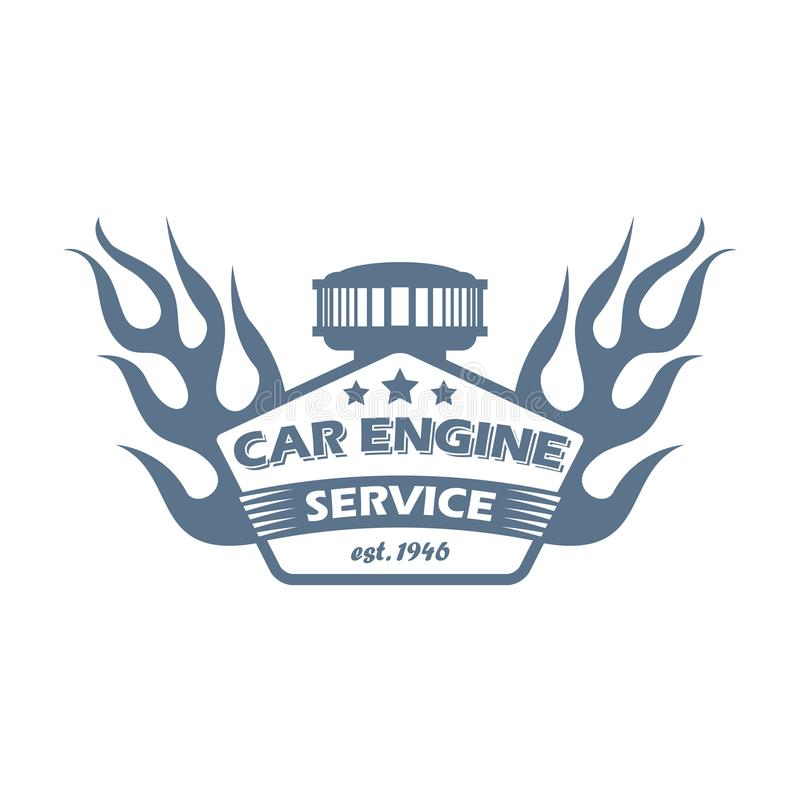 Logo för monokrom för service för reparation för bilmotor stock illustrationer