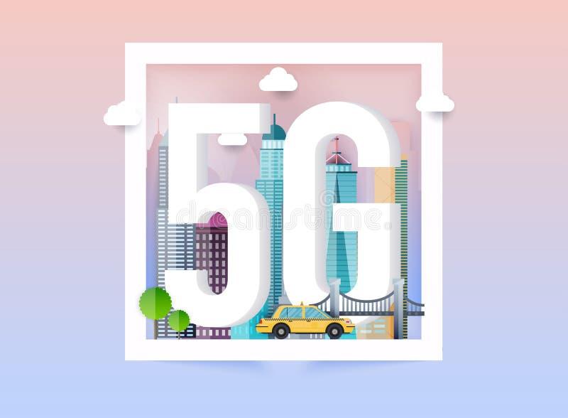 logo för nätverk 5g i den smarta staden Tecken 5g f?r n?tverk f?r vektorteknologisymbol royaltyfri illustrationer