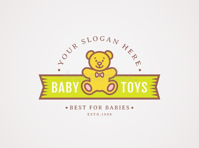 Logo för nallebjörn Vektorsymbolet för behandla som ett barn leksaklagret vektor illustrationer