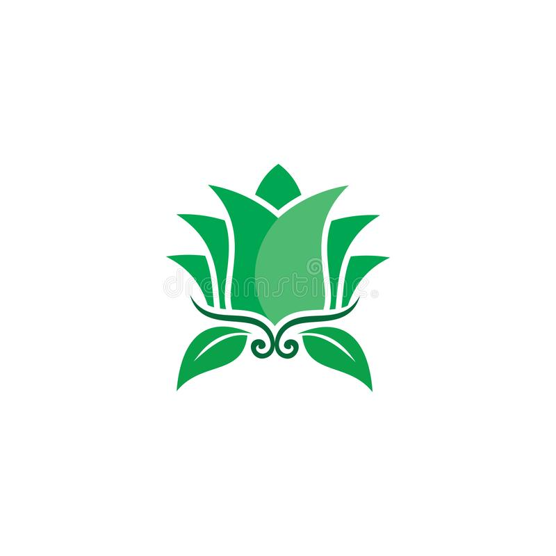 Logo för natur för gräsplan för Lotus blomma stock illustrationer