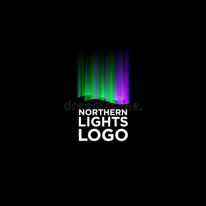 Logo för nordliga ljus Musik- eller belysninglogo Färgrika nordliga ljus gillar utjämnaren royaltyfri illustrationer