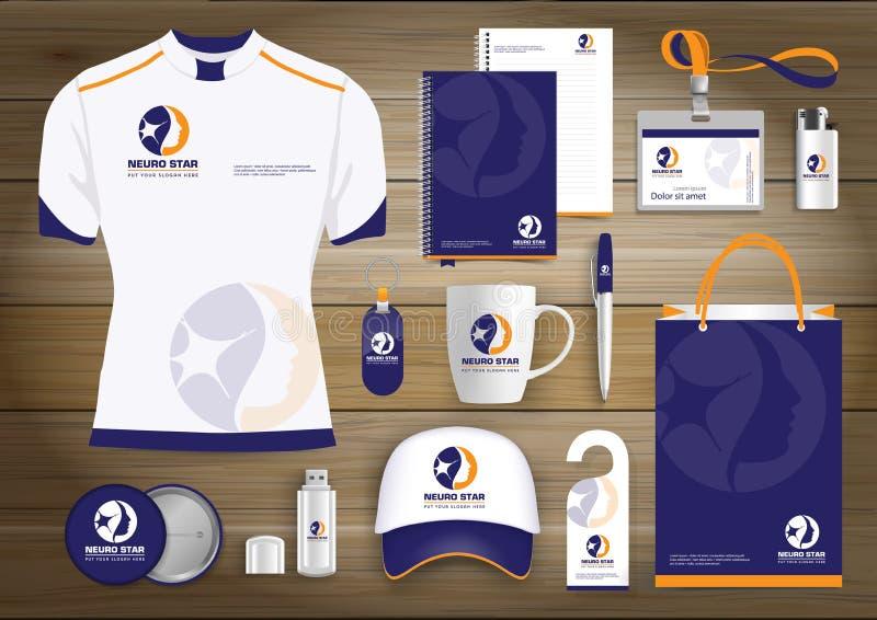 Logo för objekt för neurologistjärnagåva, malldesign för företags identitet, brevpappergräsplan royaltyfri illustrationer