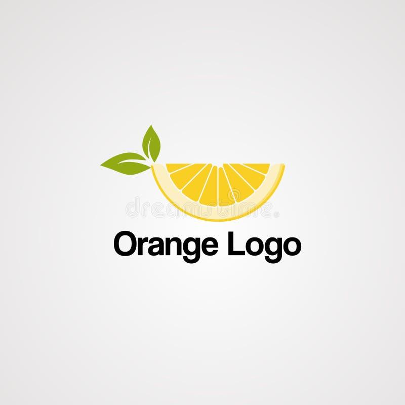 Logo för orange fruktsaft med den nya citronen och grönt blad, beståndsdel, mall och symbol för företag stock illustrationer