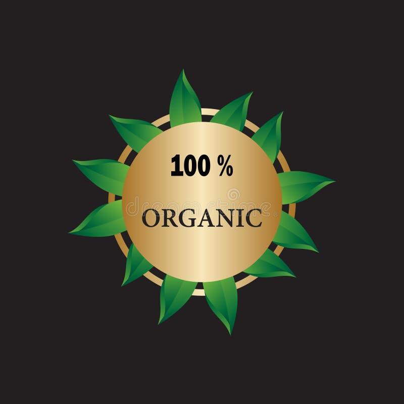 logo 100% för organisk mat stock illustrationer