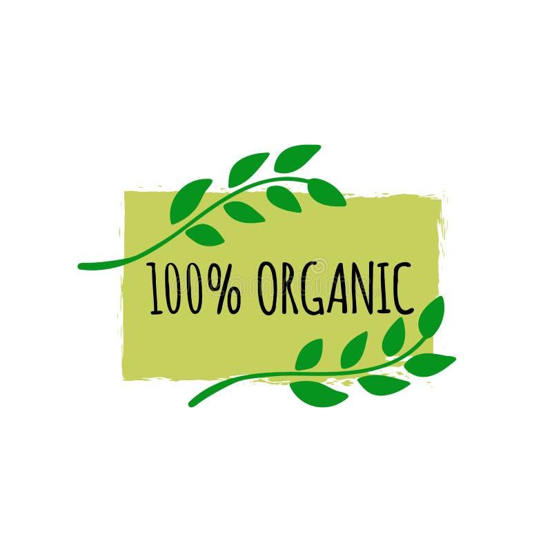 Logo för organisk mat Hand dragit strikt vegetarianemblem Bio matlogo eller tecken vektor illustrationer