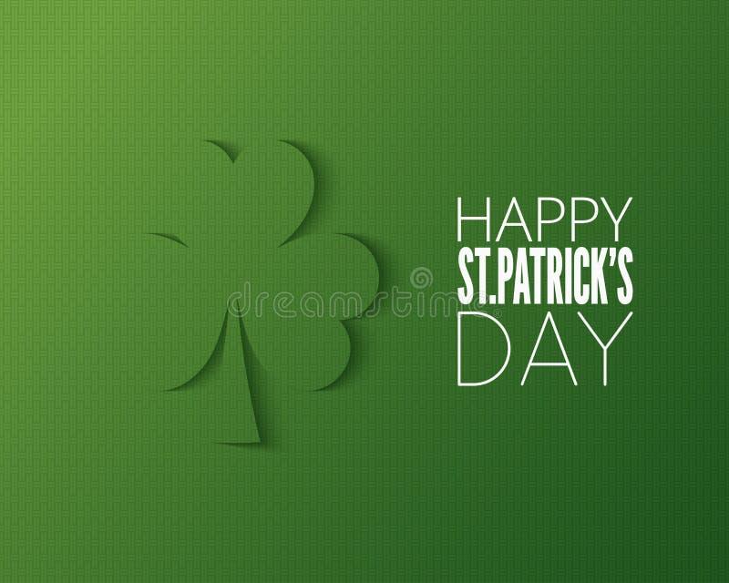 Logo för papper för Patricks dagsnitt på grön bakgrund royaltyfri illustrationer