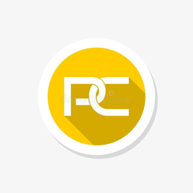 Logo för PCbokstavsklistermärke Bokstav P och bokstav C royaltyfri illustrationer