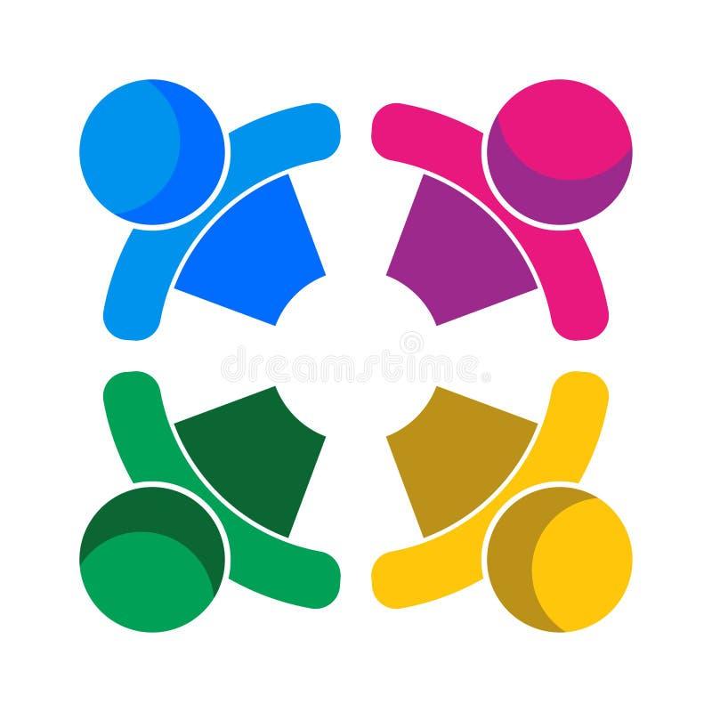 Logo för personer för lagarbete fyra färgrik stock illustrationer