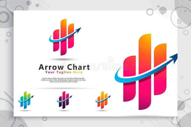 Logo för pildiagramvektor som ett symbol av redovisningen med det moderna begreppet, illustration av pildiagramstången för symbol stock illustrationer