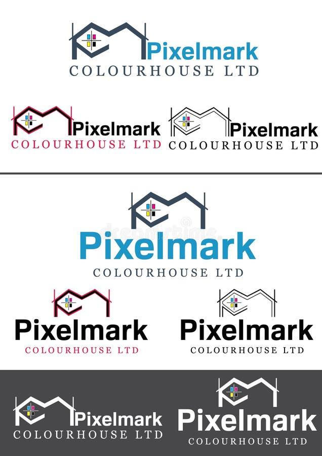 Logo för Pixelmark printinghus stock illustrationer